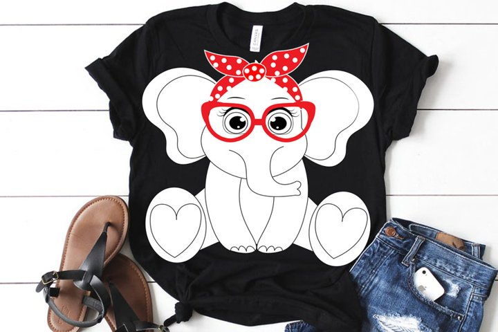Elephant SVG set, girl elephant svg, Cute Elephant SVG Cut F