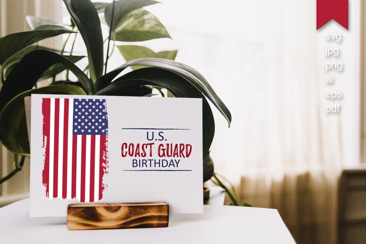 US Coast Guard Birthday svg, hand draw USA flag vector