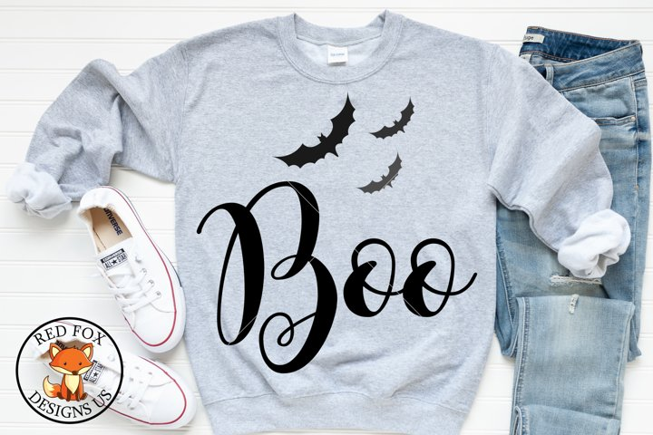 Boo with Bats SVG | Halloween Cut Files | SVG PNG DXF