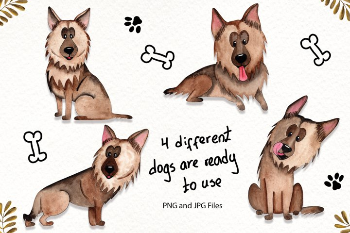 Watercolor Dogs Illustrations example 1