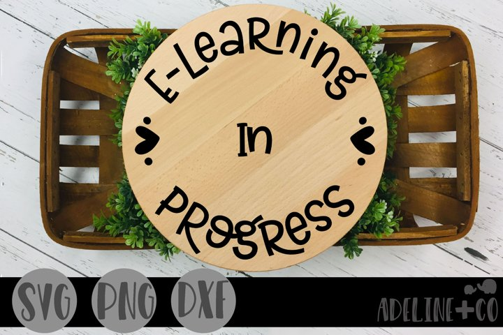 E-learning in progress, sign, SVG, PNG, DXF