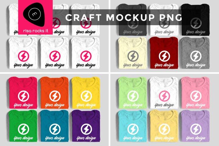 Six Folded Tees Craft PNG Mockup