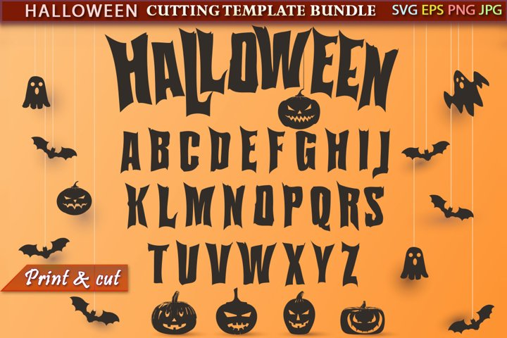 Halloween font and elements Cutting SVG Template Bundle