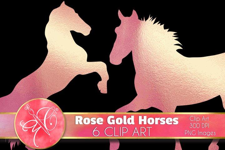Rose Gold Horses Clip Art /Scrapbook, Overlays, Element