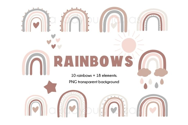 Rainbows clipart. Neutral color rainbows clip art. 28 PNG