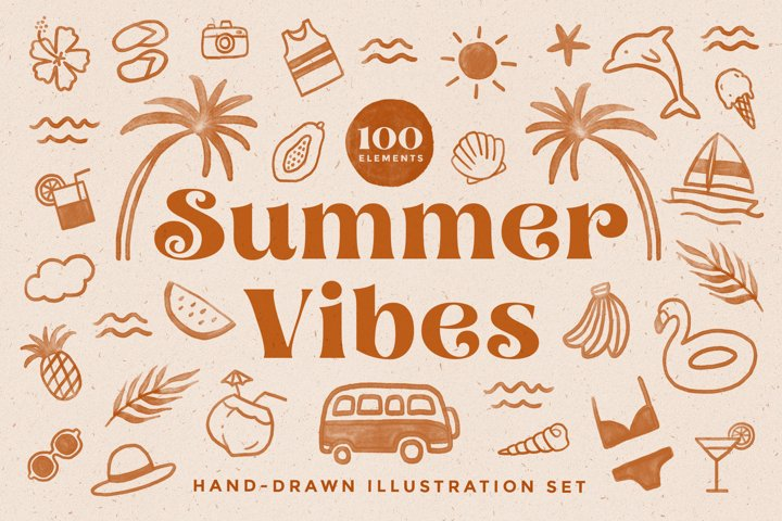 Tropical Summer Illustration Set