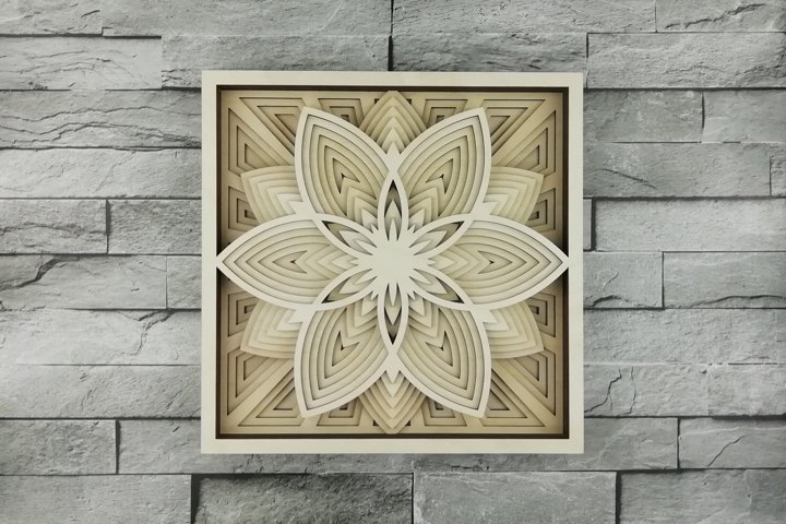 Multilayer Mandala SVG, Cut file Mandala, 3D Flower
