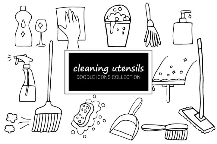 Cleaning Utensils Doodle Icons Collection