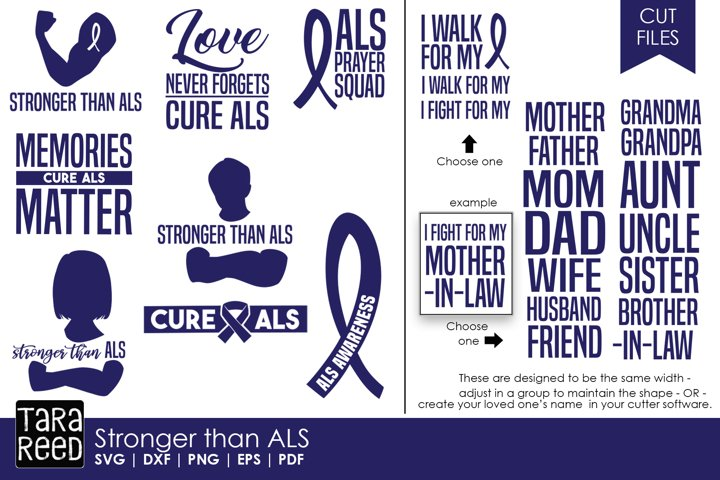 Stronger than ALS - SVG and Cut Files for Crafters