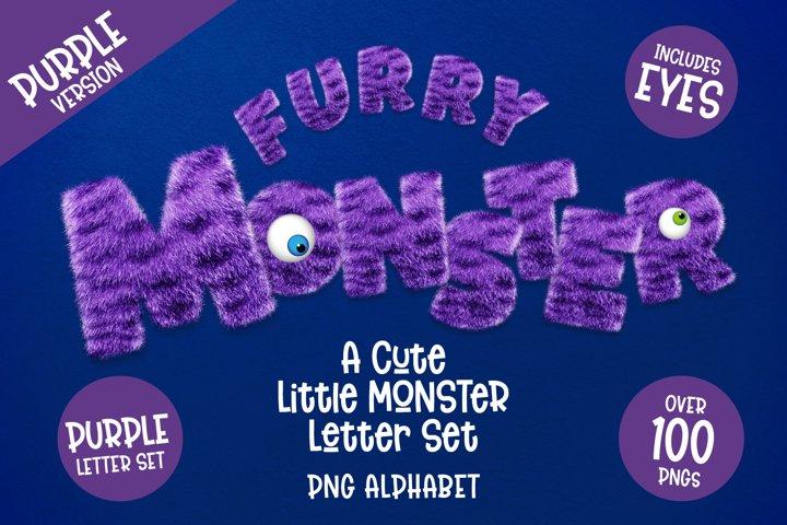Furry Monster Alphabet - PNG Letter Set in Purple