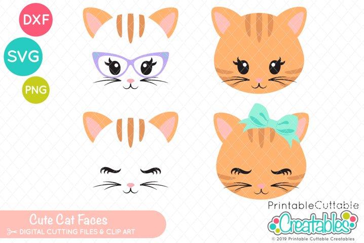 Cute Cat Faces SVG Set