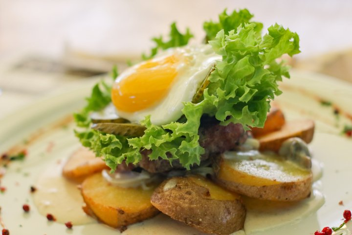 Food with fry eggs