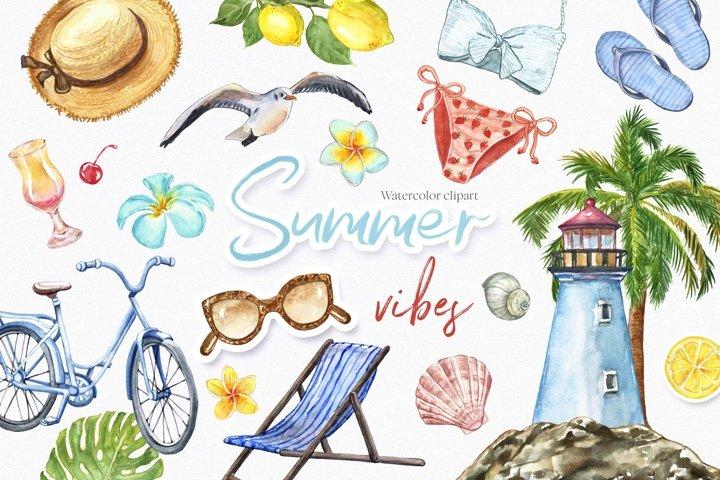 Summer Beach Sea Clipart Watercolor Art Tropical Collection