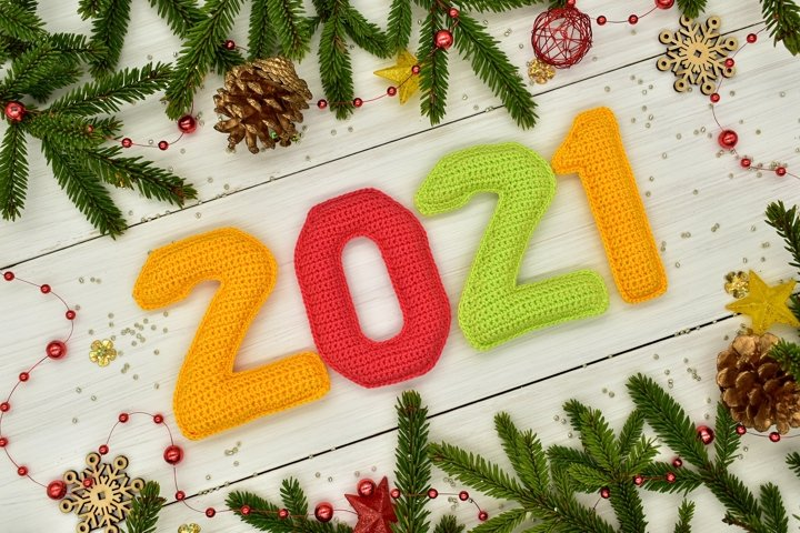 New year 2021, Christmas. Knitted colored numbers.