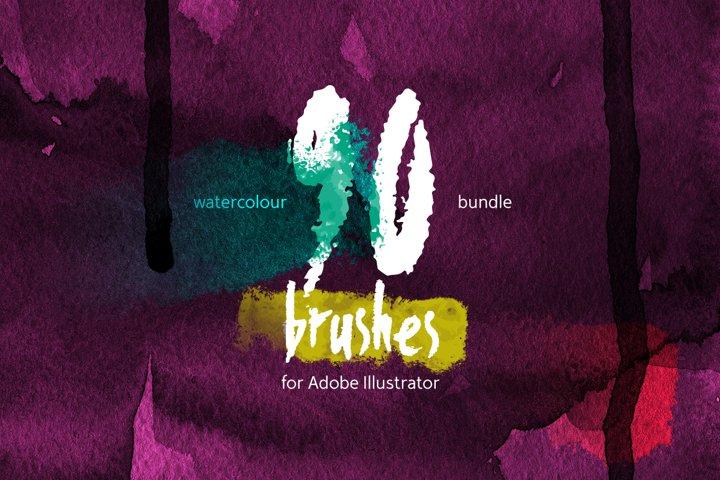 90 Watercolor Brushes BUNDLE for Illustrator