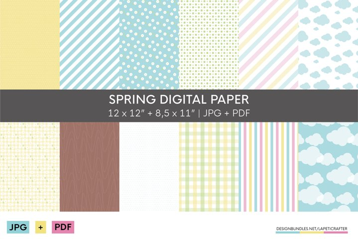 Spring and summer digital paper collection | JPG and PDF