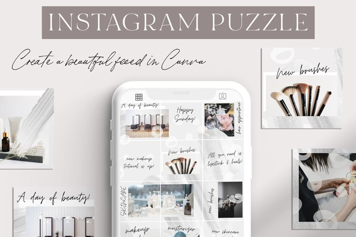 Gray Canva Instagram Puzzle Grid Template