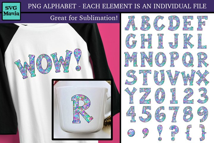 PNG Alphabet, PNG Monogram Letters, Letters for Sublimation