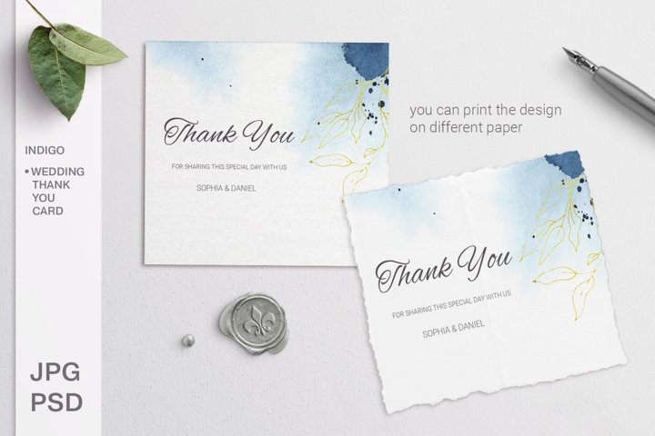 Indigo Wedding Thank you card. Editable template