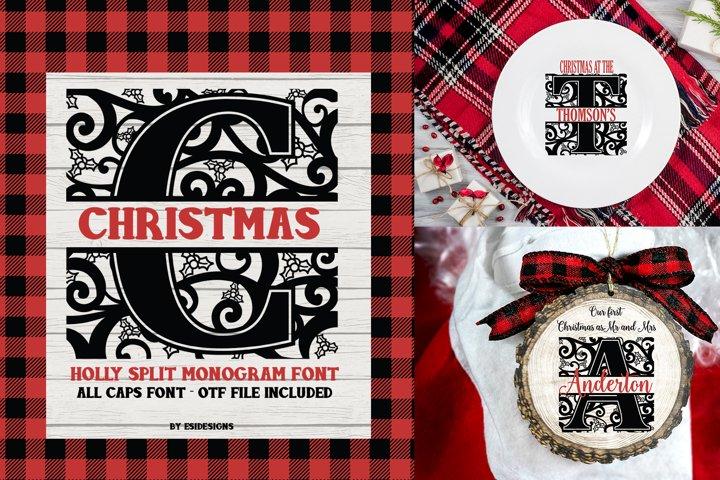 Christmas Holly Split Monogram Font   Serif Font