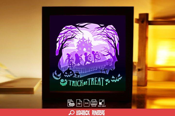 #199 Happy Halloween 3D Shadow box Paper Cut Lightbox