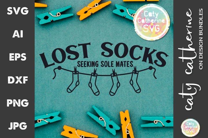 Lost Socks Seeking Sole Mates Laundry Sign SVG Cut File