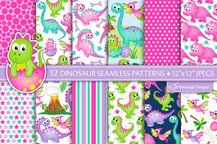 Dinosaur digital papers, Girl Dinosaur Patterns -P50