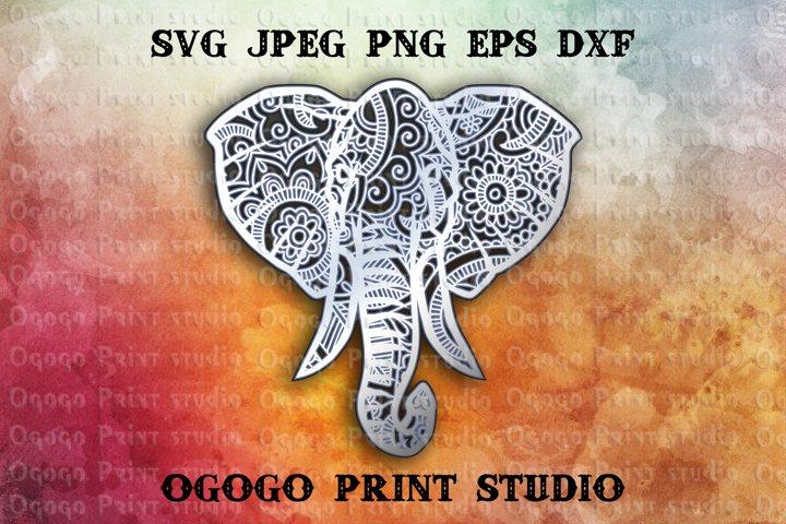 3D Layered Elephant Mandala Svg, Zentangle SVG, Animal Svg