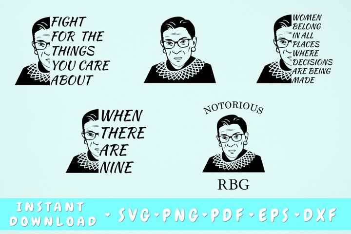Ruth Bader Ginsburg SVG Bundle - 5 Designs, RBG SVG