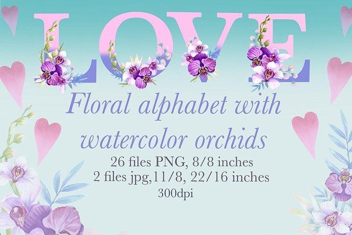 Watercolor Floral Alphabet, spring flowers monogram