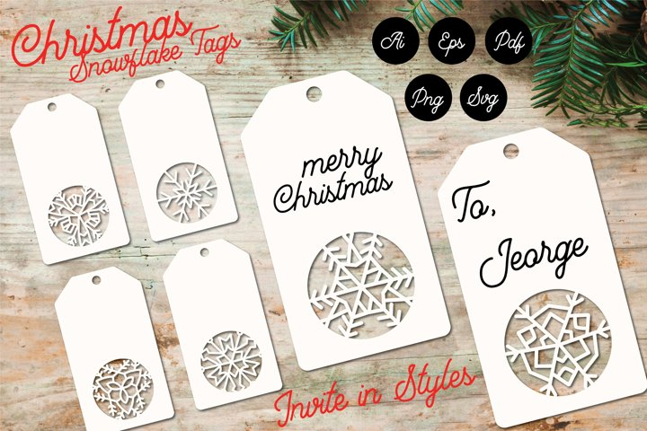 Christmas Snowflake Tags for Gifts Paper Cut Template