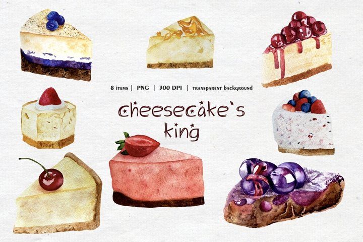 Watercolor Cheesecake Clipart, Slice of Cheesecake