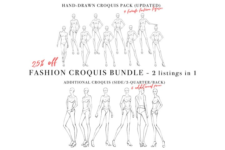Female Croquis Bundle, Figures for Fashion Illustration