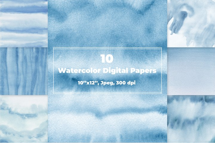 Blue Ombre Watercolor Digital Papers
