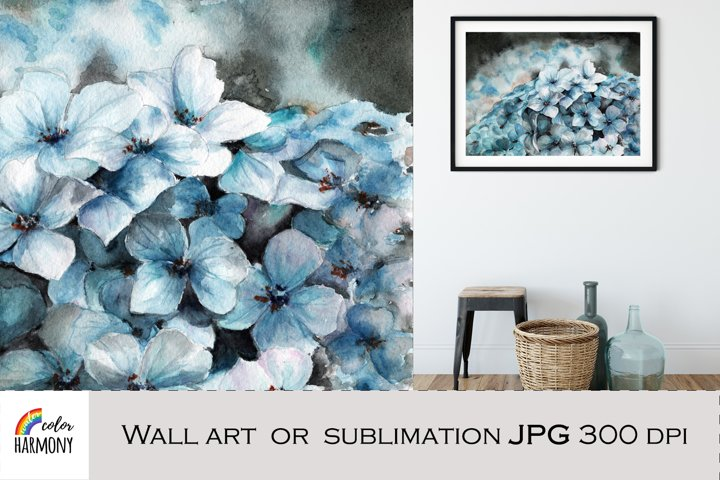 Wall art Blue Hydrangea flowers. Watercolor sublimation