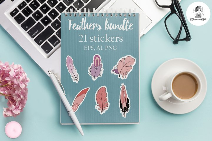 Vector Bundle Stickers graphics Digital doodle Feathers!