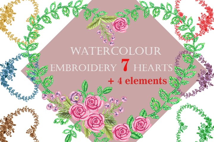Watercolor Embroidery, 7 of hearts