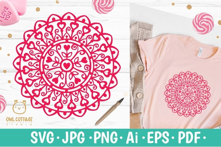 Valentine Mandala with hearts svg , valentines day decor