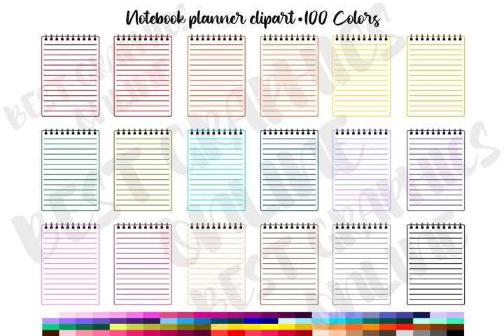 100 Notebook Clipart Rainbow Notepad digital planner sticker