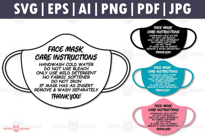 Mask Care Card Template SVG, Mask Care Instructions Bundle