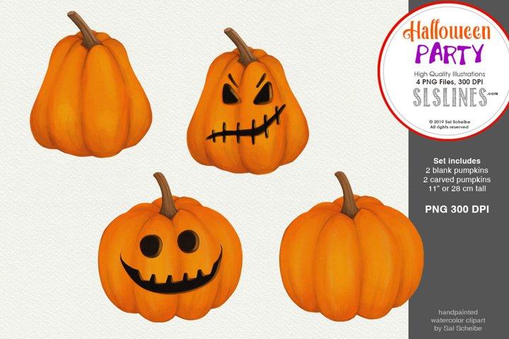 Halloween Party, 4 Watercolor Pumpkins PNG