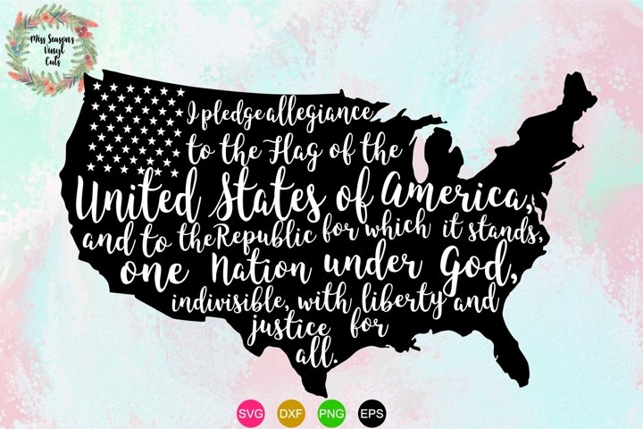 USA Pledge Outline SVG Png Dxf EPS