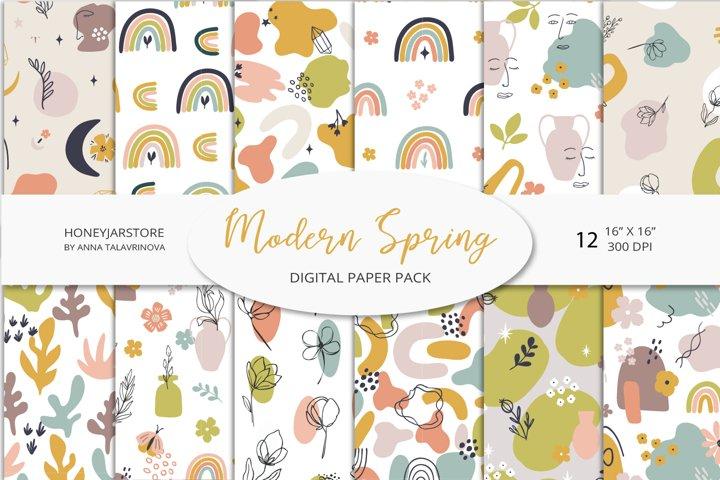 Modern Spring digital paper pack, floral seamless patterns
