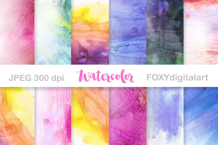 Watercolor Digital Papers Scrapbook Wedding Invite