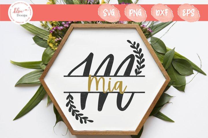 Handlettered Split Monogram M SVG Cut Files