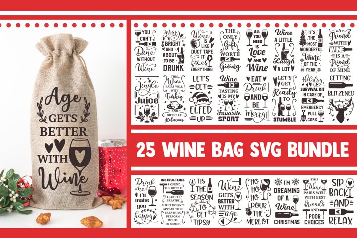 Wine bag SVG Bundle, wine svg, svg designs, wine glass svg