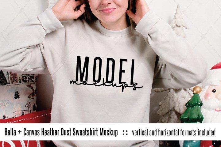 3901 Bella Canvas Heather Dust sweatshirt Christmas mockup