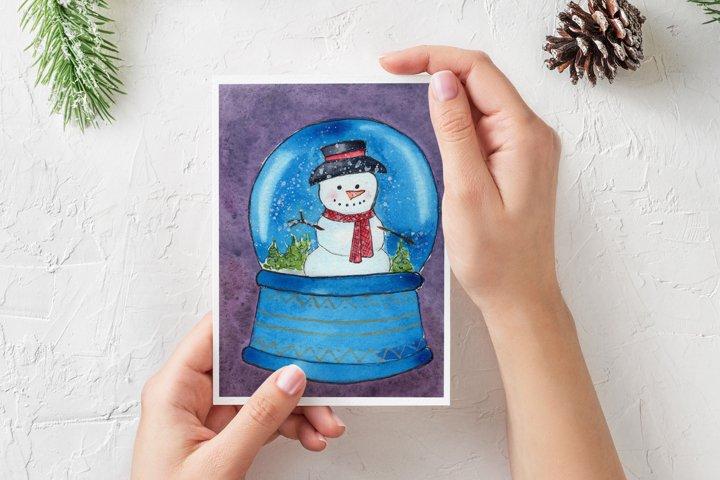 Watercolor Christmas Card. Snow Globe