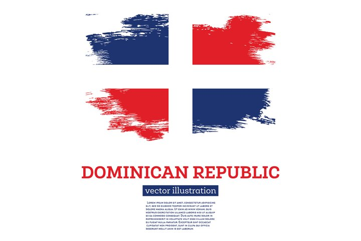 Dominican Republic Flag with Brush Strokes