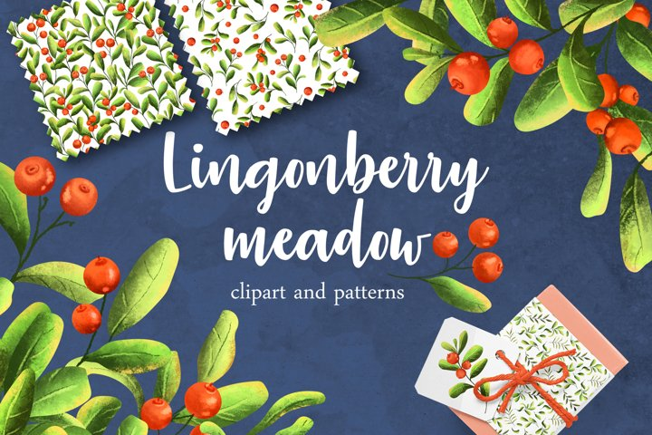 Lingonberry meadow. Clipart and patterns set